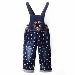 Wholesale Thouser Denim - Retail 2016 Spring Kids Boys Overalls Star Print Fashion Boys Autumn Suspender Pants Kids Clothing SP81017-1
