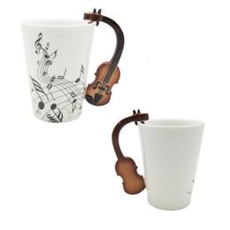 2019 regali di violino Love Music Violin Notes Holds Tea Coffee Tazza in ceramica da latte in porcellana con manico Best Christmas Gift With Gift Box White sconti regali di violino
