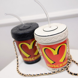 Wholesale Personalized Girls Bag - 2017 summer models McDonald's cola straw cup chain bag cell phone purse shoulder slung buckets personalized handbags