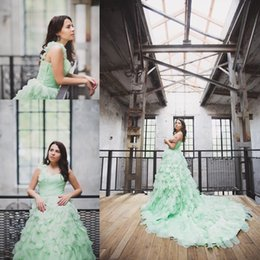 Wholesale Light Green One Shoulder - Mint Green Custom Made Prom Dresses 2016 Organza Cascading Ruffles Long One Shoulder Court Train Sweetheart Neck Dresses Party Evening