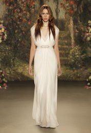 Wholesale Cheap Jenny Packham Wedding Dresses - 2016 Jenny Packham Wedding Dresses Deep V Neck Beaded Sash Floor Length Chiffon Beach Bridal Gowns Cheap Vintage Wedding Dresses Custom Made