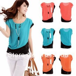 Wholesale Ladies Blouses Wholesalers - Wholesale-H&Q New 2015 Summer Women Career Casual Short Sleeve Round Neck Blouses Ladies Chiffon Shirts Tops blusas femininas 02-030