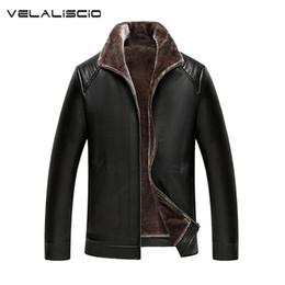 Wholesale Leather Jacket Wool Collar Men - Wholesale- VELALISCIO 2017 New PU Leather Jacket Men Winter Leather Coat Warm Collar Jackets Men Faux Windbreaker Plus Size M-XXXL