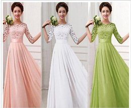 Wholesale Elegant Long Chiffon Prom Dresses - New Brand bridesmaid dresses Spring Lace Chiffon Sexy Long party Evening Dress Half Sleeve Elegant Women Prom Gown Bodycon Maxi Dresses