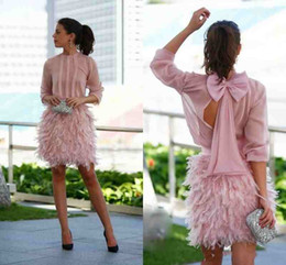Wholesale Cocktail Dress Covered Jewels - Charming Pink Short Feather Cocktail Dresses Long Sleeves Open Back With Bow Evening Gowns Party Dresses For Special Occasion Prom Gown