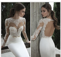 Wholesale Poets Fall - Only 59$ 2017 new Berta Bridal Mermaid Wedding Dresses Jewel Neck Poet Long Sleeve Illusion Sheer Appliques Lace Backless Back Formal Gowns