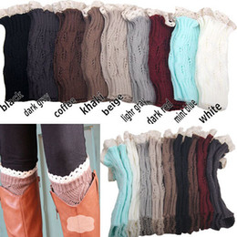 Wholesale Wholesale Fashion Womens Boots - womens crochet lace and knitted boot cuffs Knitted Boot Toppers women boot cuffs socks winter leg warmers for women fashion gaiters boot