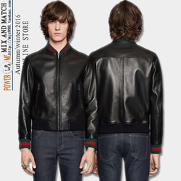 Wholesale Business Man Winter Coat Black - 2017 Autumn Winter Business Men's Coat Wash PU Leather Green Red Element Spell Leather Jacket Men's Leather Faux Outerwear Coats