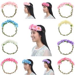 Wholesale Hawaii Head Accessories - NEW FASHION Women Flower Garland Floral Bridal Headband Hairband Wedding Hawaii Girl Head Flower Crown Head Wreaths Hair Accessories 5SFG4