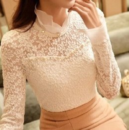 Wholesale Lace Collared Long Sleeve Blouse - dongguan_wholesale Autumn New High Collar Slim Thin Long-Sleeved Women Blouses Openwork Beaded Lace Shirt Plus Size S~2XL Camisa Feminina