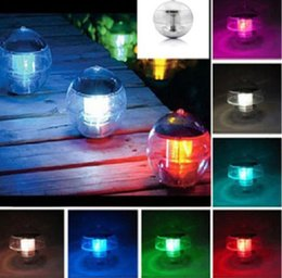 Wholesale Festival Gardens - Solar Power Waterproof IP65 Floating Pond Rotat 7 Color Changing Lamp Solar Ball Pond Float 7colors LED Lamp Festival Light Led Night Light