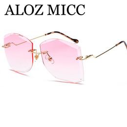 Wholesale Big Frame Vintage Eyeglasses - ALOZ MICC Luxury Rimless Sunglasses Women Vintage Metal Big Frame Lady Sun Glasses Fashion Marine Lens Eyeglasses A412