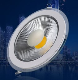 Wholesale Led Downlight Cover - Hot Sale ,AC85~265V COB 9W 15W 18W Glass Cover LED Downlight, ,led recessed ceiling down lamp light,CE & RoHS,30pcs lot