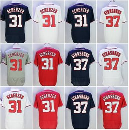 Wholesale Baseball Jerseys Washington - Fast delivery Men's Washington 31 Max Scherzer 37 Stephen Strasburg Baseball Jerseys White Red Grey Black FelxBase CoolBase Authentic Jersey