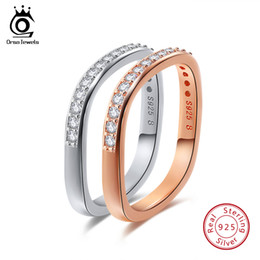 Wholesale Male Sterling Silver Wedding Ring - ORSA JEWELS Real 925 Silver Women Men Rings Sterling Silver Color Rose Gold Color 3 Styles Male Wedding Band Female Jewelry SR50