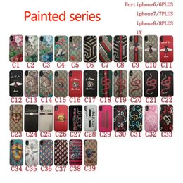 Wholesale Pattern Paintings - Luxury painted print snake tiger flower pattern phone shell for iphone X 8 8plus hard cover for iPhone7 6 6S 7plus