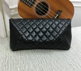 Wholesale large envelope clutch bags - 30CM Genuine Leather Evening Bag Women's Black Lambskin Quilted Large Clutch Hand bag 98558 Lady Fashion Handbags