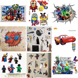 Wholesale Sticker For Toilet - Mix Order Removable Cartoon Wall Stickers for Kids Nusery Rooms Decorative Wall Decals Home Decoration Movie Wallpaper Wall Art 3d Window