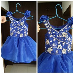 Wholesale Making Flower Chart - Cute Girls Pageant Dresses Organza Blue Bow on Shoulder Back Zipper Hand Made Flower Crystal Beads Royal Blue Mini Girl Dresses Real Image