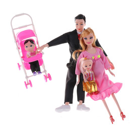 Wholesale Real Plastic Dolls - Wholesale- 6PCS  Set Hot Selling Family 5 People Dolls Suits 1 Mom  1 Dad  1 Girl  1 Boy 1 Baby Carriage Real Pregnant Doll Gifts Random