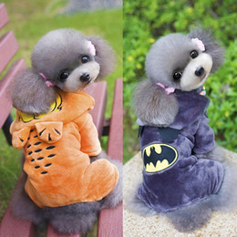 Wholesale Velvet Puppy - 2016 Garfield & Batman Hooded Dog Clothes Coral Velvet fabric Puppy Overalls Pet Suits Winter Warm Clothing