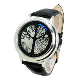 Wholesale Touch Screen Led Round Watch - StFree Shopping Sylish Blue Light Digital Touch Screen LED Wrist Watch with Black PU Band Onlinebuy