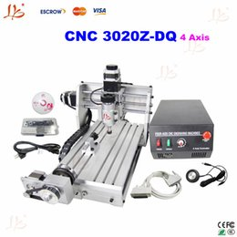 Wholesale 3d Cnc Wood Carving Machine - free gift 230W CNC 3020Z-DQ 4 Axis Engraving Machine Drilling Milling Carving Router For PCB Wood & Other support 3D work
