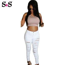 Wholesale White Cut Out Jeans - Wholesale-Hot Fashion Women Female Cotton Denim Ripped Hole Punk Cut-out Women Sexy Skinny pants Jeans Leggings Full Length Black   White
