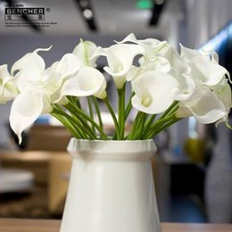 Wholesale Orange Lily Wedding Bouquets - 30pcs PU artificial Calla Lily Bridal Wedding Bouquets Latex Real Touch Calla Lily Flower Home Wedding centerpieces Decoration