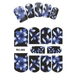 Wholesale Decal Nail China - 10PCS LOT NAIL ART BEAUTY STICKER DECAL SLIDER FLOWER CHINA BLUE FLOWER BIRD FIRE BLAME RU460-468