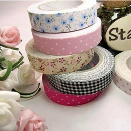 Wholesale Double Sided Cotton Adhesive Tape - Free shipping Hot sales DIY printed Dot check Floral fabric cotton tape office adhesive tape 118 patterns scrapbooking(5pcs Lot)