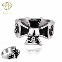 Wholesale Super Skull Rings - 2015 Cool Design Punk Style 316L Stainless Steel Cross Skull Rings for Super Stars Personalized Jewelry
