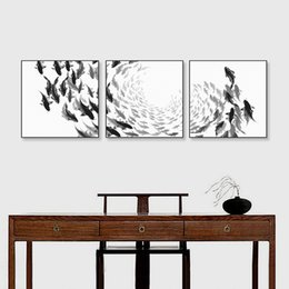 Wholesale Framed Fish Pictures - Modern Chinese Ink Oriental Black White Fish Canvas Art Print Poster Wall Picture Vintage Home Decor Triptych Paintings No Frame