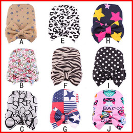 Wholesale Big Baby Hat - 2016 Newest Fashion 9 Colors Newborn Infant baby caps with big bows Lepoard Zebra Stare pattern warm hat for winter 9colors choose free
