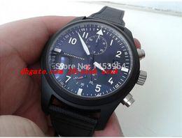 Quarz-pilotenuhr online-NEUE Sapphirer Luxury Armbanduhr Schwarz 388001 3880 01 Fliegeruhr des japanischen Quarzwerkes Chronograph Herrenuhr