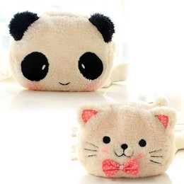 Wholesale Pencil Cartoon Character - Cute Cartoon Cat Shape Soft Plush Cosmetic Makeup Bag Pouch with Pen Pencil Case Black Pink Clearance sale Free Shipping