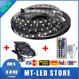 Wholesale Dhl Rgb - Factory direct Waterproof 5050 RGB Black PCB 60led m 5M 300 LED SMD IP65 DC 12V Flexible Light Strip+44key+12v 5A power via DHL