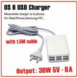 Canada Livraison gratuite 30W 5V 6A 6 ports USB chargeur mural Universal Mobile Phone Adaptateur secteur avec 1.5M câble pour iphone / Samsung USA plug chargeur Offre