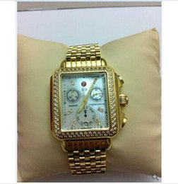 Wholesale Fully Dress - Hottest!!! 2018 Michele Deco Diamond Chronograph day date fully function Gold Quartz watch fashion women's Dress Watches.
