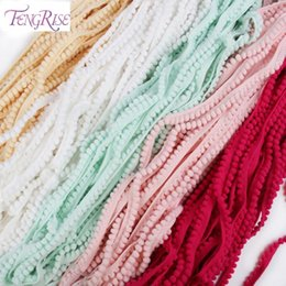 Wholesale Wholesale Ball Fringe - FENGRISE Sewing Accessories 10 yards 10mm Lace Pompom Trim Pom Pom Tassel Ball Fringe Ribbon DIY Materials Fabric Cord