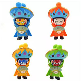 Wholesale Chinese Doll Wholesale - 4 Colors Sichuan Opera Face Changing Figure Dolls Chinese Traditional Style Toys 4 Different Faces Mini Finger Fun Toys CCA7863 192pcs