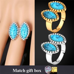 Wholesale Turquoise Jewelry Gift Boxes - Turquoise Turkish Jewelry Band Ring For Women With Gift Box 18K Real Gold Platinum Plated Engagement R1116