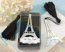 Wholesale Bookmark Tower - Valentine's Day ad gift wedding party favor tassel Eiffel Tower bookmark Christmas decoration stainless steel Pendant Ornaments souvenir