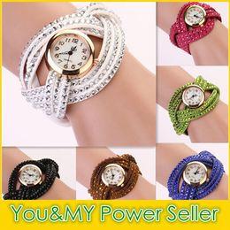 Wholesale Vintage Ladies Bangle Watches - Rhinestone Diamond Whirlwind Design Leather Weave Dress Wristwatches Women Girls Ladies Bracelet Bangle Watches Muticolors Vintage Watch