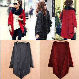 Wholesale Sweaters Korea - Korea Loose Shawl Batwing Sleeves Lady Knit Sweater Coat Woolen Women Cardigans