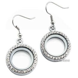 Wholesale Glass Locket Dangles - 1 pair !! 20mm Silver Round locket earrings glass floating charm locket Zinc Alloy LSFL017-1*2