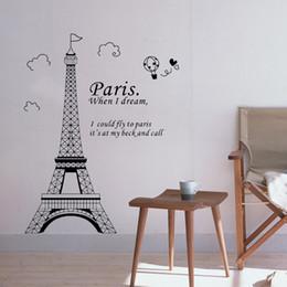 Wholesale Decoration Paris - DIY Wall Wallpaper Stickers Romantic Paris Eiffel Tower Beautiful View of France Art Decor Mural Room De Home Decorations 3D Sticker H11575