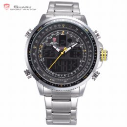 Wholesale Shark Mens Digital Watches - Winghead SHARK LCD Yellow Button Digital Analog Date Day Alarm Chronograph Steel Band Quartz Sporting Outdoor Mens Watch  SH327