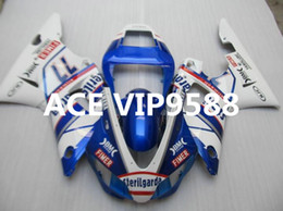 Wholesale 98 R1 Fairings White Black - 3 gifts Motorcycle Fairing kit for YAMAHA YZFR1 98 99 YZF R1 1998 1999 YZF1000 YZF 1000 Fairings set Blue White v6