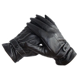 Wholesale Gloves Anal - Wholesale-New Winter Motorcycle Gloves Solid Adult Hot Sale 1pair Men Luxurious Pu Leather gloves Super Driving screen touch Gloves ANAL